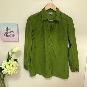 J. Jill Corduroy Tunic Shirt Top Button Down Green
